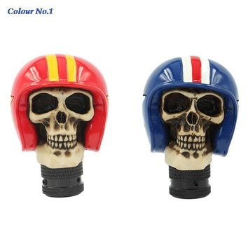 Universal Gear Shift Knob Skull Helmet Shift Knob Resin Manual Gear Shift Knobs Car Styling Decals