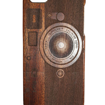 Camera print Iphone 5 /5s/ 6 wooden engraved bamboo phone case cover