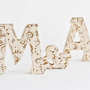 Wood Monogram Cake Toppers,Decoration Wooden, Letters, lettering Signage, Letters, End, M, A. Weddings lettering gift, Name blocks,wedding