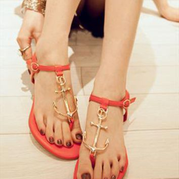 Red Pattern Sandals from BAIANSY