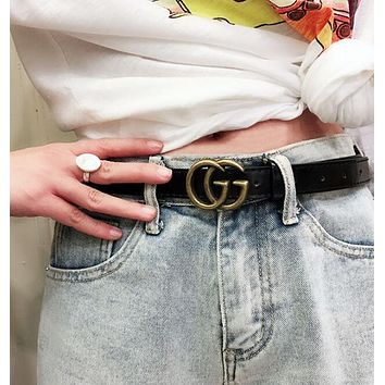 GUCCI Popular Woman Men Smooth Buckle Leather Belt+Best Gift Black I12241-1