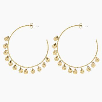 The Hammered Disc Hoops - Gold