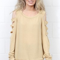 Brushed Cashmere Cutout Sleeve Sweater {Gold}
