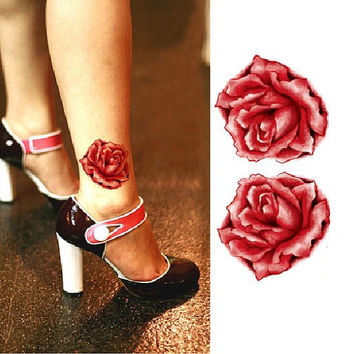 Punk temporary rose and skull tattoo personal tattoo flash two pieces set