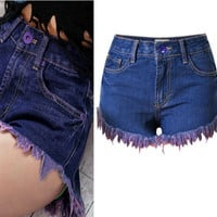 Fringed Four Pocket Denim Shorts