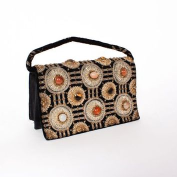 Vintage 60s Bejewled Black Velvet Evening Bag / 1960s Black Silk Metallic Embroidered Handbag Purse