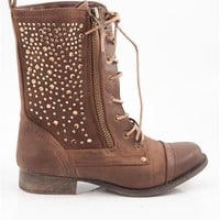 Twinkle Time Lace Up Combat Boots - Brown