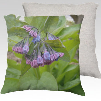 Pink and Blue Virginia Bluebells ~ Velveteen Decorator Pillow Cover 18x18 Romantic Spring or Summer Home Décor Accent