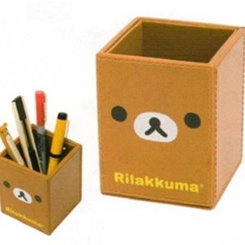 San-X Rilakkuma Vinyl Leather Pen Stand: Relax Bear