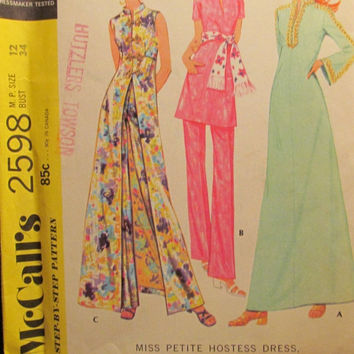 SALE Uncut 1970's McCall's Sewing Pattern, 2598! Size 12 Sml/Medium/Women's/Misses/Petite Hostess Dress/Top/Pants/Asian Style/Long Silk robe