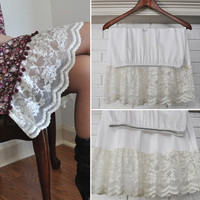 7 inches Ivory Lace or White Ruffle Trim Slip, Extender Slip -  XS S M L XL XXL