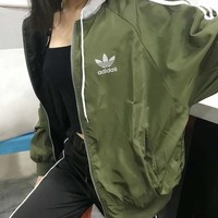 Adidas Women Hooded Zipper Sweatshirt Jacket Coat2