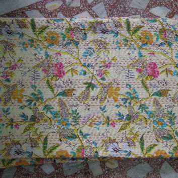 Cotton Floral Sari Indian Quilt -Kantha Quilt Quilted Bedspreads,Throws,Ralli,Gudari Handmade Tapestery REVERSIBLE Twin Bedding