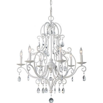Murray Feiss Chateau Blanc 6 Light White Chandelier - F1902/6SGW