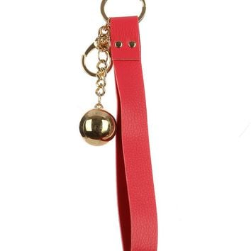 Coral Red Faux Leather Strap Bag Accessory Key Chain