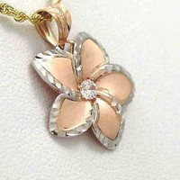 22.5MM ROSE GOLD HAWAIIAN PLUMERIA WG SMOOTH DIA.CUT CZ