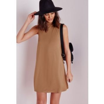 Missguided - Jersey Sleeveless Swing Dress Camel