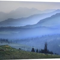 Mist over Absaroka Range, Yellowstone National Park, Wyoming