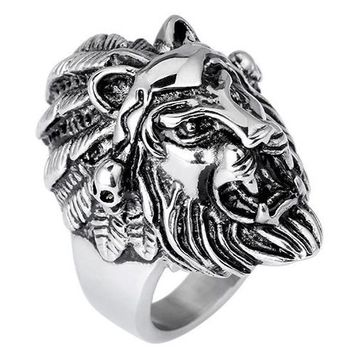 Cool Lion Head Vintage Silver Metal Men Finger Rings Lord Of Animal King Ring Set For Male Best Friend Gift Jewelry Bague Homme