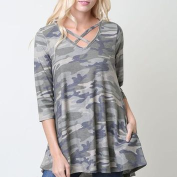 Criss Cross Camo tunic top with 3/4 sleeves and Side Pocket