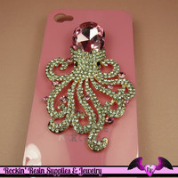 Bling XL PINK OCTOPUS Crystal Covered Alloy Decoden Cellphone Cabochon Decoration