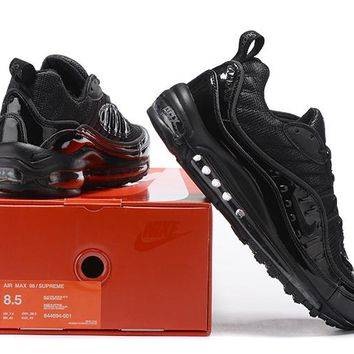 """Nike Air Max 98 Supreme"" Men Sport Casual Fashion Stitching Patent Leather Air Cushion Running Shoes Sneakers"