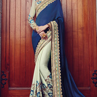 Light Green and Blue Embroidered Party Wear Saree