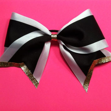 Black White and Gold 3 inch large Cheer Bow by 2girls2Tus on Etsy