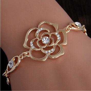 Gold Plated Austrian Crystal Hollow Charming Rose Flower Chain Bracelet Womens Jewelry
