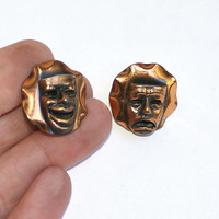 Comedy and Tragedy Mask Earrings Theater Mask Earrings Happy Sad Face Thespian Gifts for Actors Theater Gifts Copper Earrings Non Pierced