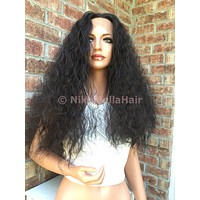 Loose Wave Human Hair Blend Multi Parting Hair Swiss Lace Front Wig 18 inches