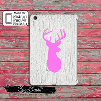 Deer Head Pink White Painted Wood Grain Hunting Antlers Cute Camo Custom iPad Mini, iPad 2/3/4 and iPad Air Case Cover
