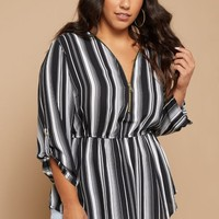 Plus Black Vertical Striped Zip Front Oversized Top