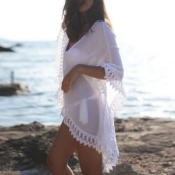 Chiffon Bikini Cover Up 2018 Sexy Women Beachwear Summer Kaftan Swim Dress White Lace Crochet Bikini Bathing Suit Swimsuit