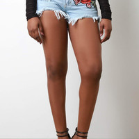 Floral Embroidery Patch Frayed Denim Shorts