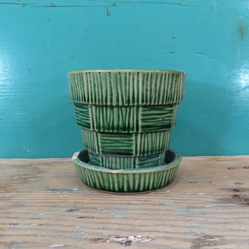 McCoy Green Basket Weave Flower Pot USA Pottery Planter
