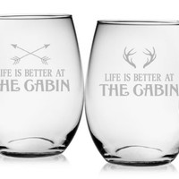 Life is Better at the Cabin Stemless Wine Glass - Set of 4