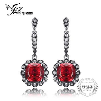JewelryPalace Vintage 4.6ct Square Red Created Ruby Drop Earrings 925 Sterling-Silver-Jewelry For Women Wedding Fashion Earrings