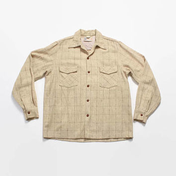Vintage 50s PLAID Fleck SHIRT / 1950s Men's Tan Wool Loop Collar Rockabilly Shirt L