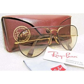 RAY-BAN *MINT B&L VINTAGE AVIATOR *LEATHERS *SUPER-CHANGEABLES SUNGLASSES & CASE