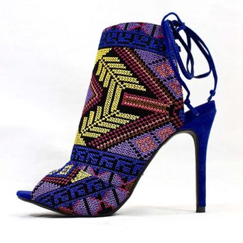 Republic Calista Blue Embroidered | Wowtrendz | High Stiletto Boots