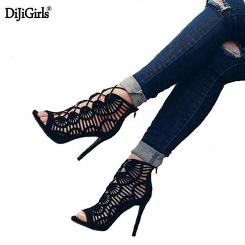 Dijigirls summer boots sandals black heels vogue ankle strap heels ladies Ankle boots Hollow sexy Women's sandals in heels