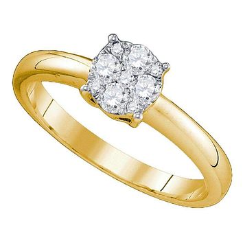 18kt Yellow Gold Women's Round Diamond Cluster Bridal Wedding Engagement Ring 3/4 Cttw - FREE Shipping (US/CAN)