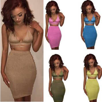 Sexy Sparkly Bandage Bodycon Dresses Halter Deep V Neck Crop Top Two Piece Set Party Dresses