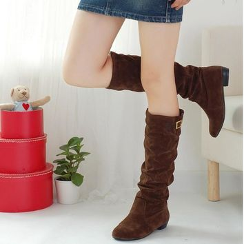 Slip-On Knee-High boots Pointed toe Square Flat  heel