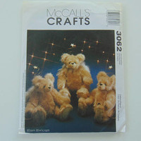 McCall's Craft 3062 13 inch Stuffed Bears Dolls with moveable joints UNCUT with extras sewing pattern