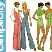 1970s Jumpsuit Pattern Bust 32 Simplicity 6904 Criss Cross Halter Jumpsuit Romper Playsuit Princess Seam Womens Vintage Sewing Pattern