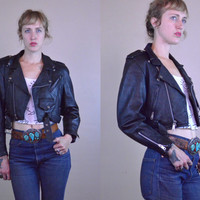 Vintage 70's AMI London Cropped Women's Black Leather Biker Jacket