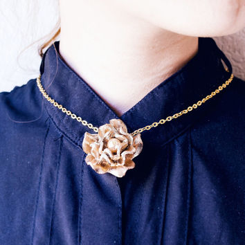 Metallic gold genuine leather necklace with rose pendant  - Leather jewelry - leather accessory