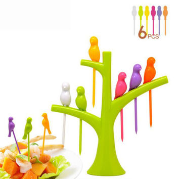 6 Pcs/set Birds Shape Creative Fruit Fork Tableware Dinnerware Sets Vegetable Fruit Fork Kitchen Accessories